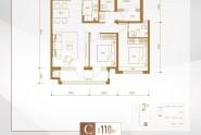 C户型三室两厅两卫110㎡