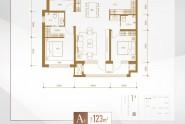 A1户型三室两厅两卫123㎡