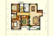 A1户型三室两厅两卫约126㎡