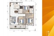 C户型三室两厅两卫113㎡
